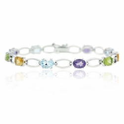 Sterling Silver 8.30ct. TGW Multi Gemstone Oval Link Bracelet