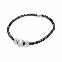 Sterling Silver 925 Stretchable Italian Bead Chain Bracelet  567-itb00056blk -