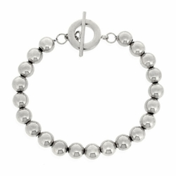 Sterling Silver Beaded Toggle Bracelet