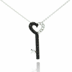 Sterling Silver Black Cubic Zirconia Key Pendant Necklace -