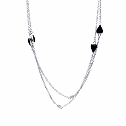 Sterling Silver Black Cubic Zirconia Onyx Open Heart Pendant Necklace -