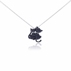 Sterling Silver Black Diamond Cat Pendant Necklace 18 Inches