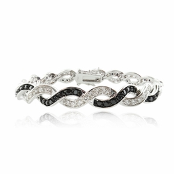 Sterling Silver Black & White CZ Bracelet