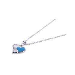 Sterling Silver Blue Cubic Zirconia Heart Pendant Necklace 18 Inches -