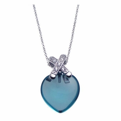 Sterling Silver Blue Cubic Zirconia Open Heart Pendant Necklace -