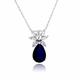 Sterling Silver Blue Cubic Zirconia Pendant Necklace -