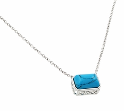Sterling Silver Blue Turquoise Pendant Necklace 18 Inches -