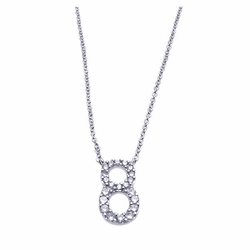 Sterling Silver Cubic Zirconia #8 Pendant Necklace -