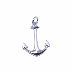Sterling Silver Cubic Zirconia Anchor Pendant Necklace -
