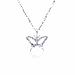 Sterling Silver Cubic Zirconia Butterfly Pendant Necklace 18 Inches -