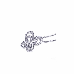 Sterling Silver Cubic Zirconia Butterfly Pendant Necklace -
