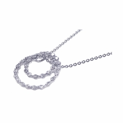 Sterling Silver Cubic Zirconia Circle Pendant Necklace -