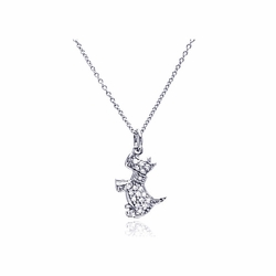 Sterling Silver Cubic Zirconia Dog Pendant Necklace -