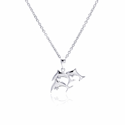 Sterling Silver Cubic Zirconia Dolphin Pendant Necklace 18 Inches -