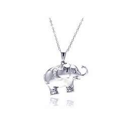 Sterling Silver Cubic Zirconia Elephant Pendant Necklace -