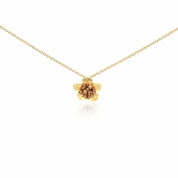 Sterling Silver Cubic Zirconia Flower Pendant Necklace 18 Inches -