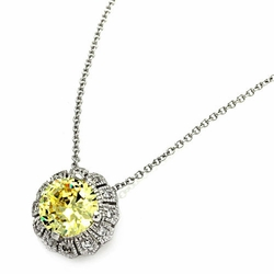 Sterling Silver Cubic Zirconia Flower Pendant Necklace -