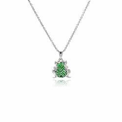 Sterling Silver Cubic Zirconia Frog Pendant Necklace -