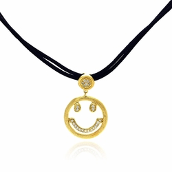 Sterling Silver Cubic Zirconia Happy Face Pendant Necklace -
