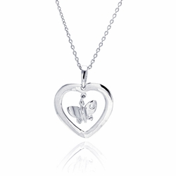 Sterling Silver Cubic Zirconia Heart Butterfly Pendant Necklace -