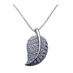 Sterling Silver Cubic Zirconia Leaf Pendant Necklace -