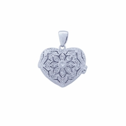 Sterling Silver Cubic Zirconia Locket Heart Pendant Necklace -