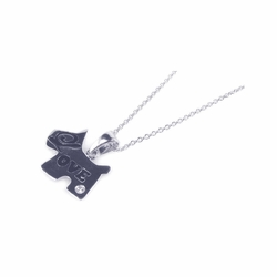 Sterling Silver Cubic Zirconia Love Dog Pendant Necklace -