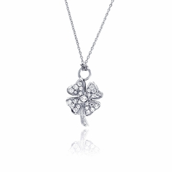 Sterling Silver Cubic Zirconia Love Pendant Necklace -