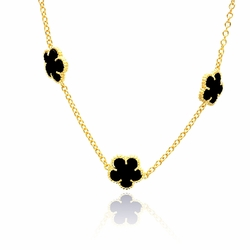 Sterling Silver Cubic Zirconia Onyx Flower Pendant Necklace 18 Inches -