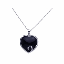 Sterling Silver Cubic Zirconia Onyx Open Heart Pendant Necklace -