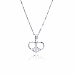 Sterling Silver Cubic Zirconia Open Heart Peace Sign Pendant Necklace -