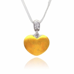 Sterling Silver Cubic Zirconia Open Heart Pendant Necklace -