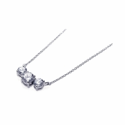 Sterling Silver Cubic Zirconia Pendant Necklace 18 Inches -
