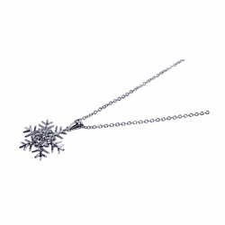 Sterling Silver Cubic Zirconia Snow Flakes Pendant Necklace -
