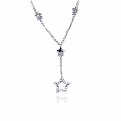 Sterling Silver Cubic Zirconia Star Pendant Necklace -