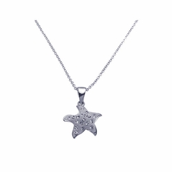 Sterling Silver Cubic Zirconia StarFish Pendant Necklace -