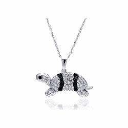 Sterling Silver Cubic Zirconia Turtle Pendant Necklace -