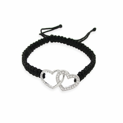 Sterling Silver CZ Heart Adjustable Weave Bracelet