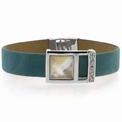 Sterling Silver CZ & Mother of Pearl Teal Leather Bracelet
