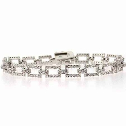 Sterling Silver CZ Rectangle Link Bracelet