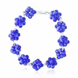 Sterling Silver Dark Blue Cats Eye Bead Cluster Bracelet