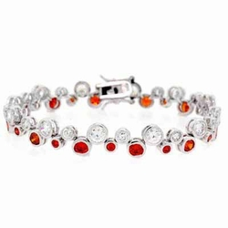 Sterling Silver Designer Orange & White CZ  Bubble Bracelet
