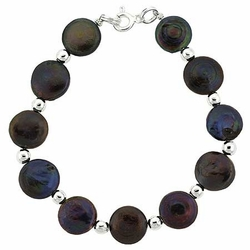 Sterling Silver Freshwater Cultured Iridescent Black Coin Pearl Bead Bracelet