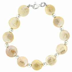 Sterling Silver Freshwater Cultured Iridescent Pink Coin Pearl Bead Bracelet