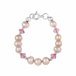 Sterling Silver Freshwater Cultured Peach Pearls & Light Rose Swarovski Elements Baby Bracelet