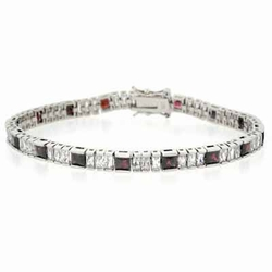 Sterling Silver Genuine Garnet and Simulated Diamond CZ Tennis Bracelet