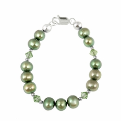 Sterling Silver Golden Green Freshwater Pearls & Green Swarovski Elements Baby Bracelet