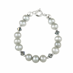 Sterling Silver Gray Freshwater Pearls & Gray Swarovski Elements Baby Bracelet, 5 ""