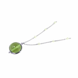 Sterling Silver Green Cubic Zirconia Ball Pendant Necklace -