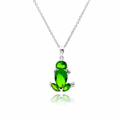 Sterling Silver Green Cubic Zirconia Frog Pendant Necklace 18 Inches -